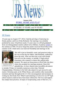 JR Harding newsletter